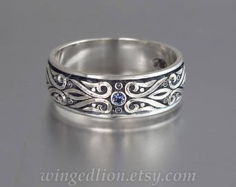 Mens Wedding Band PRINCE CHARMING sterling silver unisex band with Alexandrite