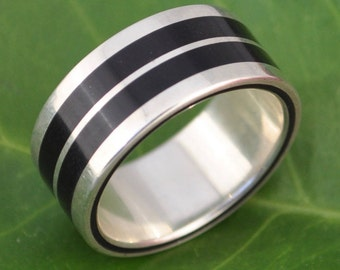 Lados-Linea Coyol Wood Ring - ecofriendly recycled sterling silver and wood wedding ring, wood wedding band, mens wood ring, womens ring