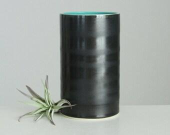 MOVING SALE Ceramic Vase Teal Black, Modern Porcelain Cylinder Vase