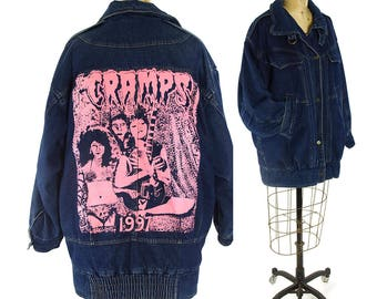 90s Punk Rock Jeans Jacket / Vintage 1990s CRAMPS Heat Transfer Dark Wash Denim Trucker Jacket Long Hip Length Customized OOAK Flannel Lined