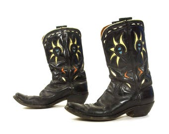 50s Acme Cowboy Boots / Vintage 1950s Collectible Cut Out Western Shortie Pee Wee Mid Calf Riding Boots / Black Leather / Women's Size 10.5