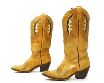 70s Acme Cowboy Boots / Vintage 1970s Brown Leather Two Tone Cutwork High Heel Western Boho Rocker Cowgirl Hippie Southwest Women's Size 7