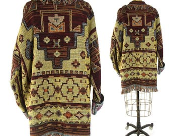 90s Southwestern Tapestry Jacket / Vintage 1990s Long Western Blanket Coat / Fringed Novelty Duster Native American Inspired Pattern / Large