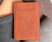 Leather Passport Holder with 3 Card Slots and Free Monogram - Personalized Travel Gift for Man Boyfriend Husband Dad Brother Grad