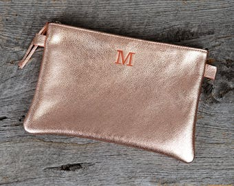 Rose Gold Leather Cosmetic Bag with Free Initial - Personalized Custom Gift for Girlfriend Wife Sister Bridesmaids Her Woman Wedding Bridal