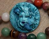 Aqua Mermaid Lady Handmade OOAK Cameo Sea Goddess Face Cab Round Cabochon Hand Painted Polymer Clay by sculptedwindows