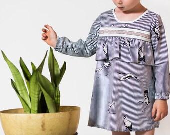 Pinstripe & crane print long sleeved cotton dress girl toddler baby Supayana