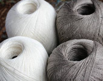 Linen yarn thread -- one ball -- natural white -- 3-ply
