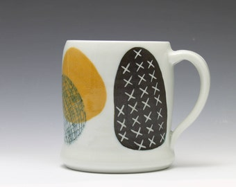 Yellow Black and White Porcelain Coffee Cup Mug