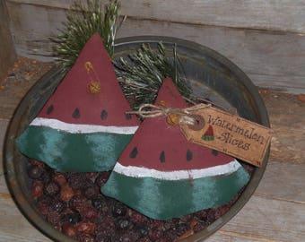 2 Primitive - Watermelon Wedges Slices - Summer Fun - Fruit - Slices - Bowl Fillers - Ornies - Ornaments - Shelf Sitters - Cupboard Tucks