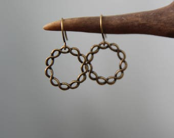 harmony . amethyst + brass hammered earrings