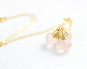 Rose Gemstone Necklace, Light Pink Necklace, Quartz Gemstone Necklace, Trio Necklace, Wire Wrap Necklace, Gold Rose Quartz Necklace