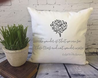 tree illustration with quote throw pillow cover, ralph waldo emerson quote pillow cover