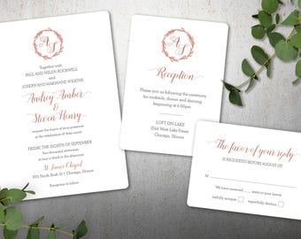 Lovely Monogram Wedding Invitation