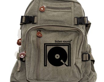 Listen Round - Small Canvas Backpack