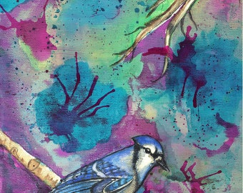 Bluejay Art, Bluejay Watercolor, Bluejay Painting, Bluejay Print, Colorful Bluejay, Bird Art, Bird Watercolor, Bird Painting, Bird Print