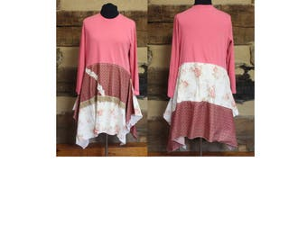 Lagenlook Tunic Dress Reconstructed Top Hippie Clothes Boho Clothing Womens Plus Size