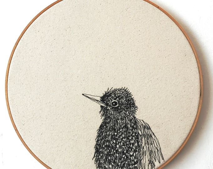 Featured listing image: Freehand Machine Stitched European Starling Portrait