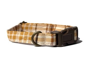 Autumn Plaid - Brown Yellow White Plaid Fall Autumn Organic Cotton CAT Collar Breakaway Safety - All Antique Brass Hardware
