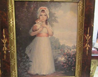 Vintage Victorian Framed Print of Young Girl with Kitten