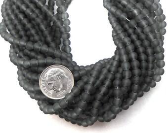 200 Black (Dark Gray) Matte Sea Glass Beads 5mm frosted beach glass round (H5034)