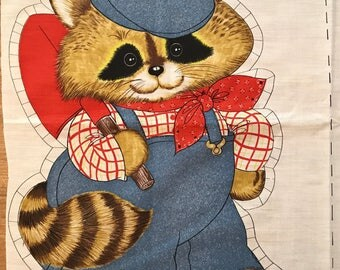 Vintage Fabric Panel to sew a Raccoon Pillow 1980's sew and stuff fabric panel - Free US Shipping