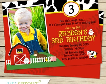 Farm Boys Birthday Invitation - Red Barnyard Invitation Card - Petting Zoo Invite - Red Yellow Cow Print- Printable Invite DIY