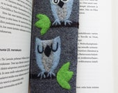 Gray wool fabric bookmark with two needle owl owls tree branch