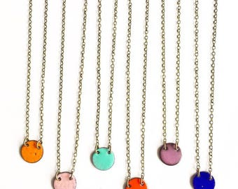 Snall Circle Enamel Necklace- choose your color!