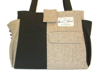 Jacob  #4617 - Recycled Large Tote - Repurposed Suit Bag - Handmade Handbag - Harris Tweed Handbag - Travel Bag - Everyday Tote - Laptop Bag