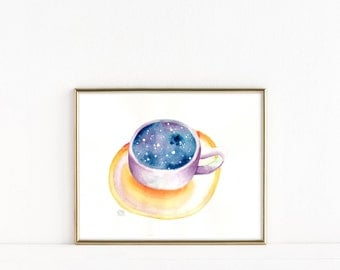 Colorful Coffee Cup Art, Coffee Cup Watercolor Wall Art Print - Tea Cup Art, Kitchen Decor, Giclee Print, Housewarming Gift