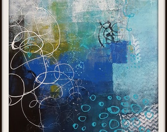 Abstract painting on Yupo paper  It Comes and Goes Like Waves  beach or coastal theme   Original    by Jodi Ohl