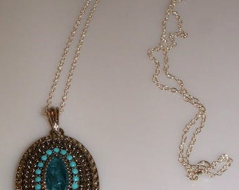 Blue Beaded and Marcasite Pendant Necklace Extra Long Chain