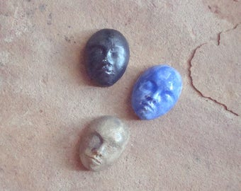 3 Different Colored Small Ceramic Clay Faces Glazed Cabochon for Mosaic, Crafts, Jewelry, Doll Making, Assemblage. Altered Art