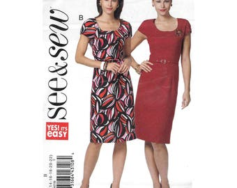 Misses Womens Short Sleeve Sheath Dress 14 to 22 Sewing Pattern See and Sew B5407