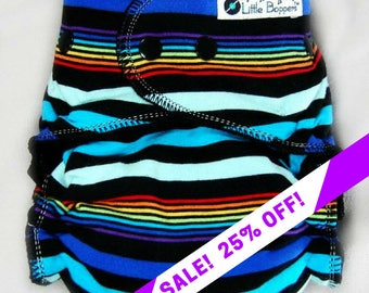 SALE! Custom Cloth Diaper or Cover - Reflection Stripes - You Pick Size and Style - Made to Order Nappy or Wrap - Black Rainbow Striped