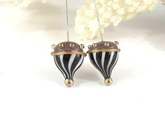sra artisan lampwork glass headpins flameworked pattylakinsmith patty Lakinsmith matched pairs purple black white handmade