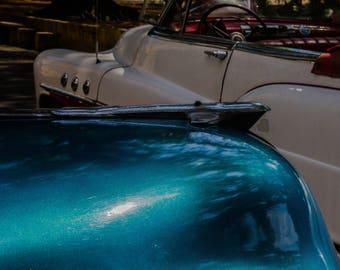 Classic vintage Cuban cars hood ornaments teal blue white Cuba automobiles travel photos original art wall decor automobile collectibles