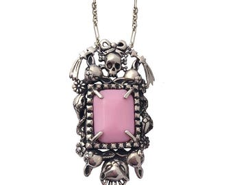 Cat Skull Snake star necklace      PINK stone flower deer bow silver gold tall
