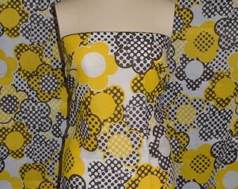 VINTAGE hippie fabric mod polka dot semi sheer yellow brown daisy