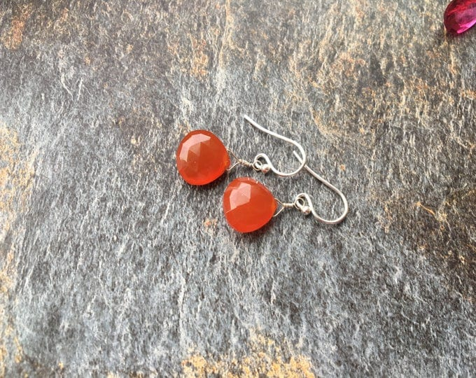 Carnelian and Sterling Silver LIttles Earrings, Dainty, Delicate, Small, Minimalist