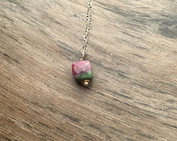 Cube Ruby Zoisite Bali Silver and Sterling Silver Littles Necklace Minimalist Dainty, Delicate