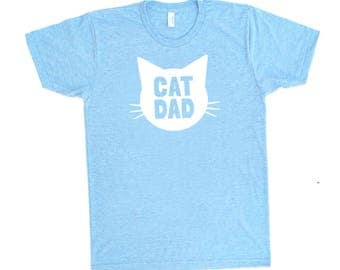 Cat Dad TriBlend Heather Blue TShirt - Family Photos, Gift for Dad, Father's Day, Cat Person, Cat Lady, Gift for Him, Crazy Cat Dude, Guy