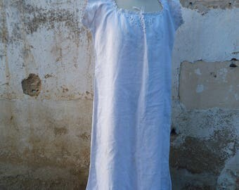 Vintage French Victorian /Edwardian linen dress underdress  floral embroidery & big monogram size M/L