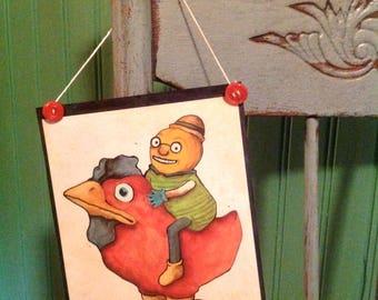 odd art, sandy mastroni illustration, rooster art, pumpkin art, Halloween,  wall art, laminated, buttons,