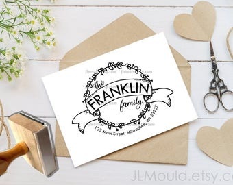 Custom Rubber Stamp Return Address Newlywed gift Modern Family Last name Personalized rubber stamp Wedding Stamp JLMould 1073