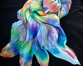 Country Bears - Arashi Shibori Hand Dyed & Hand Pleated Silk Shawl/Scarf