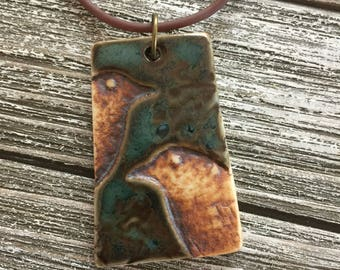 Two Rustic Birds on Mossy Green Porcelain Pendant