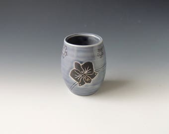 Ceramic Orchid Wine Tumbler - purple gray porcelain clay cocktail cup with flower and wifi decal - handmade wheel thrown pottery