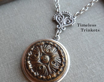 Antique Button Necklace, Ornate Brass Design, Antique Silver Ox, Timeless Trinkets